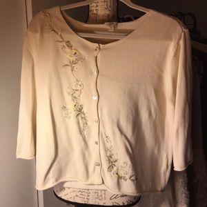 White embellished cardigan, M
